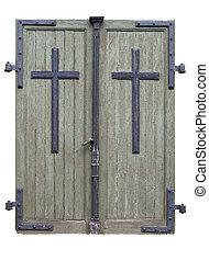 Church doors - Wooden doors to an old catholic church built...