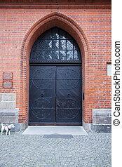 Church entrance door in Lubeck, Germany
