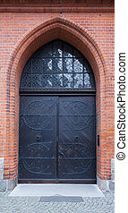 Church entrance door in Lubeck, Germany