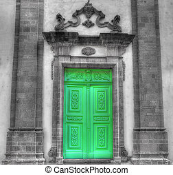 church entrance in selective desaturation - Cathedral door ...