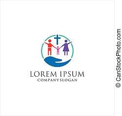 Church Family Logo Design Vector Stock .Church Hand Family Logo Design template . Christian symbols. The cross of Jesus Christ