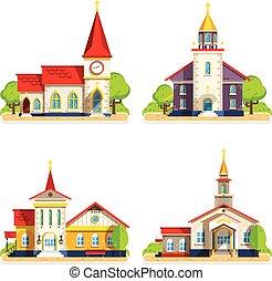 Church Flat Icons Set