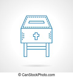 Church fundraising blue flat line vector icon