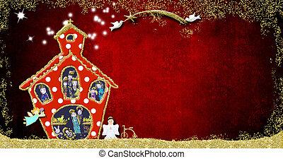 Church, funny Christmas Nativity Scene greeting card