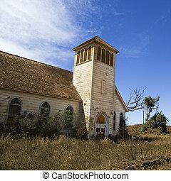 church., gammal, övergiven
