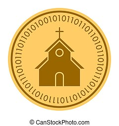 Church golden digital coin icon. Vector style. gold yellow flat coin cryptocurrency symbol. isolated on white. eps 10