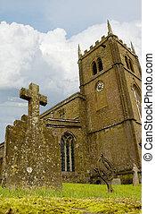 Church Graveyard - Closeup of an iron headstone in a church...