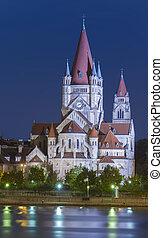 Church Heiliger Franz of Assisi, Vienna, Austria. night scene