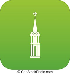 Church icon digital green for any design isolated on white...