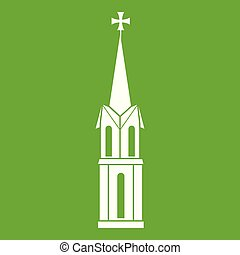 Church icon green - Church icon white isolated on green...