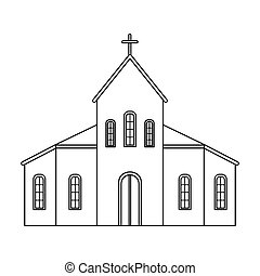 Church icon in outline style isolated on white background....