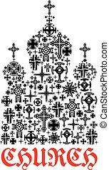 Church icon. Religion christianity cross symbols