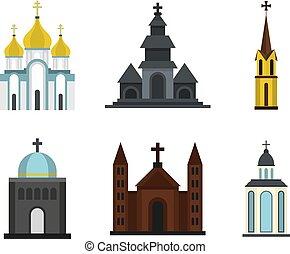 Church icon set, flat style - Church icon set. Flat set of...