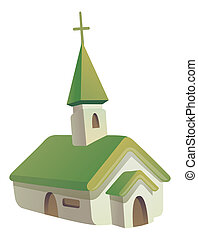 Church - illustration drawing of church with cross isolate...