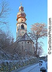 church in a frozen winter landscape