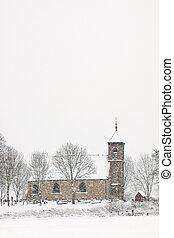 Church in a white winter landscape