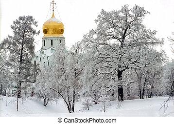 Church in cloudy winter day