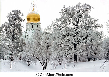 Church in cloudy winter day