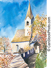 Church in Hochosterwitz watercolor painted.Picture I have...