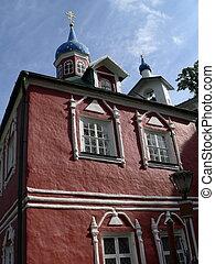 Pechorsky priory - Church in Pechorsky priory. Russia, Pskov...