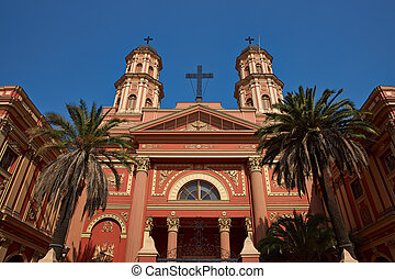 Church in Santiago, Chile - Imposing entrance to the church...