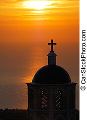 Church in Santorini at sunrise