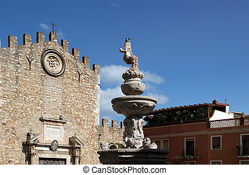 Church in Taormina, small town on the east coast of the...