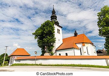 Church in the centre of the village Liptovske Sliace,...