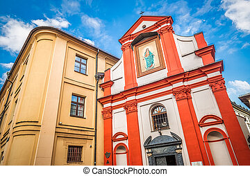 Church in the historic center of Krakow town, Poland, Europe.