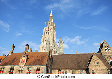 Church in the old town of Bruges