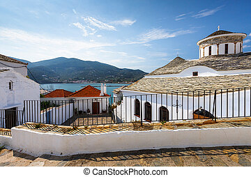 Church in the old town of Skopelos, Greece.