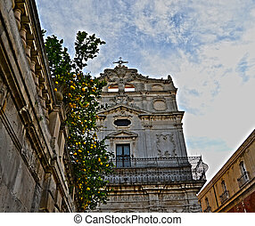 Church in the square in Ortigia