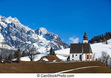 Church on a cold winter day in Tirol. Austria.
