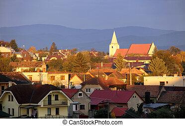 Church in village Senkvice in Slovakia at sunrise