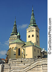 Holy Trinity Cathedral in Zilina, Slovakia. vertical photo