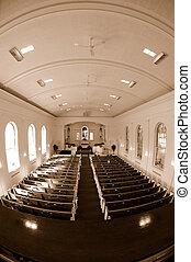 Church Interior Fisheye View - Fisheye sepia image of the...