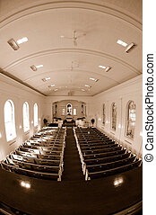 Church Interior Fisheye View - Fisheye sepia image of the...