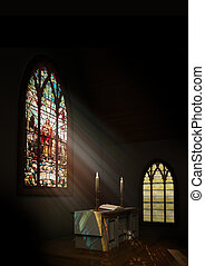 Church Interior - Interior of a dark church with a stained...