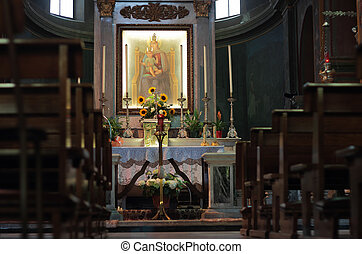church Interior, Oranvasso, Italy - the Boden ancient Church...