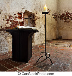 Church interior with open Bible