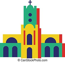 Church isolated on white background
