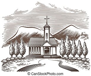 Church landscape - Illustration of church yard and village ...