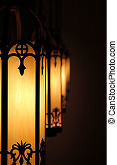 Church Lights - Antique glass and wrought iron hanging...