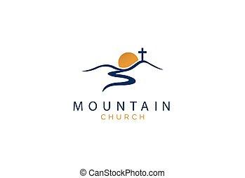 church logo designs mountain with sun
