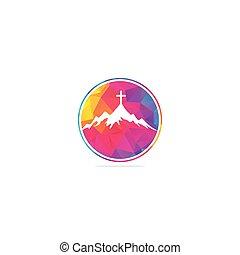 church logo designs with mountain, minimalist logo.