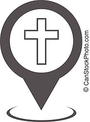 Church map pointer icon vector simple - Church map pointer...