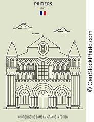 Church Notre-Dame-La-Grande in Poitier, France. Landmark icon in linear style