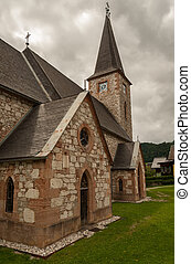 Church of Altaussee on a cloudy day