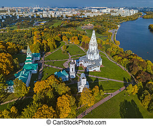 Church of Ascension in Kolomenskoe - Moscow Russia - aerial view