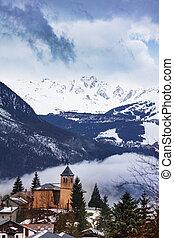 Church of Champagny-en-Vanoise village in Fance